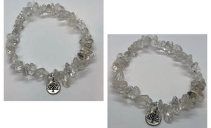 Clear Quartz Crystal Beaded Bracelet Chips Bracelet with Tree Charm