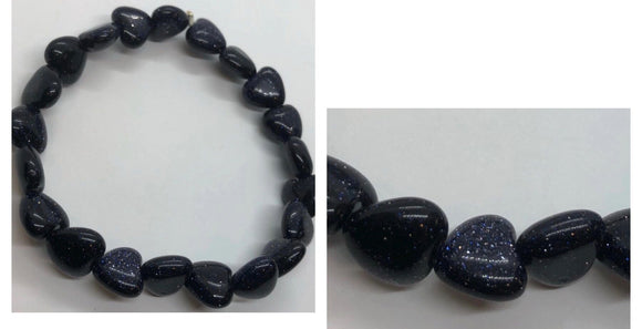 Black Goldstone Crystal Beaded Hearts Bracelet