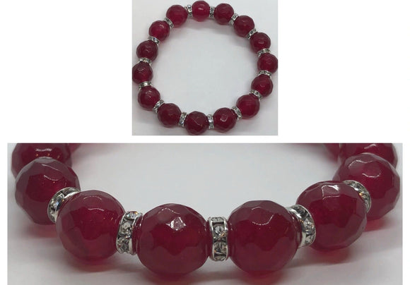 Faceted Ruby Crystal Beaded Bracelet with Diamanté Spacers
