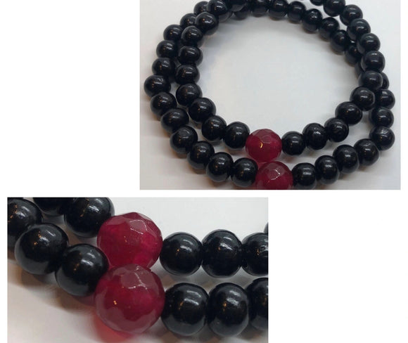 Soulmates Bracelets Set (Set of 2) - Faceted Ruby