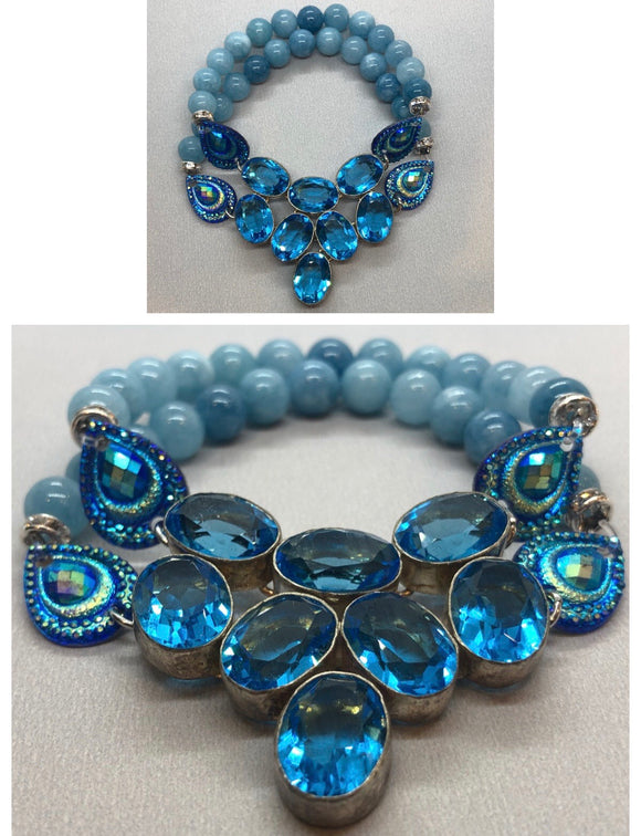 Blue Topaz set in 925 Silver with Aquamarine Crystal Beaded Double Strand Bracelet