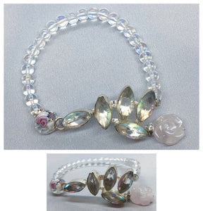 Clear Quartz set in 925 Silver with Rose Quartz & Reflective Rainbow Beaded Bracelet
