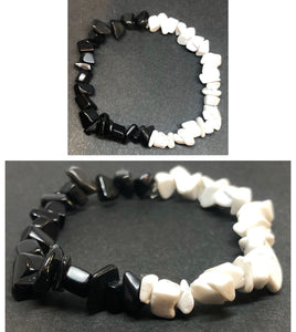 Black Tourmaline Crystal & Howlite Crystal Chips Bracelet
