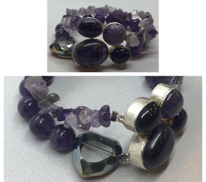 Amethyst set in 925 Silver with Amethyst Double Strand Beaded Bracelet