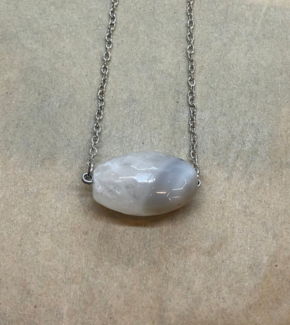 Faceted White Agate Crystal on Chain Necklace