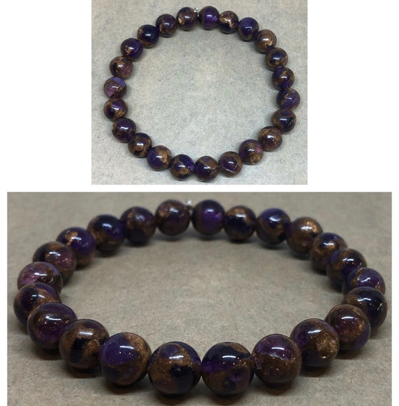 Purple Cloisonne Jasper Crystal Beaded Bracelet