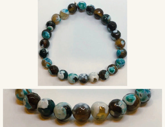 Green Fire Agate Crystal Beaded Bracelet