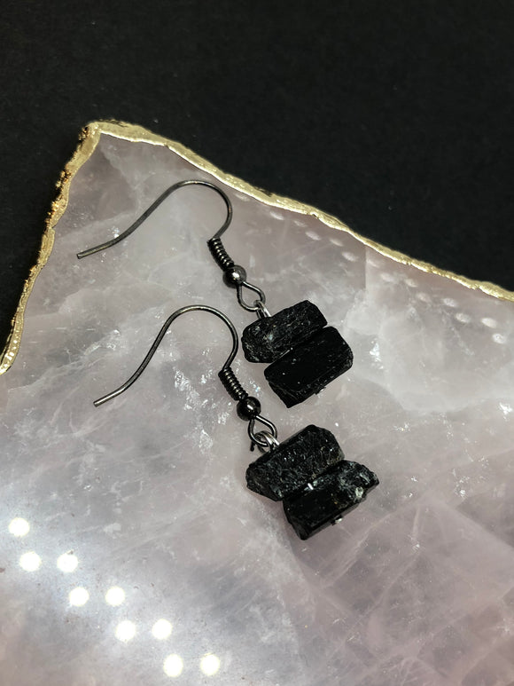 Raw Black Tourmaline Crystal Earrings
