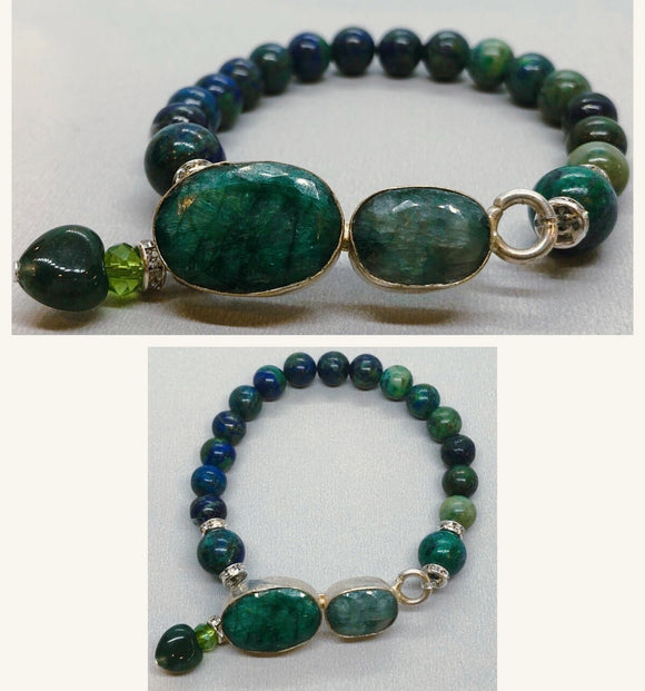 Emerald set in 925 Silver with Lapis Chrysocolla beaded bracelet
