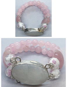 Moonstone set in 925 Silver with Rose Quartz Crystal Double Stranded Bracelet
