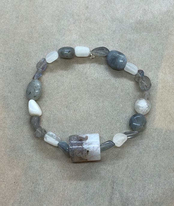 Moonstone & Labradorite Crystal Beaded Bracelet with Agate