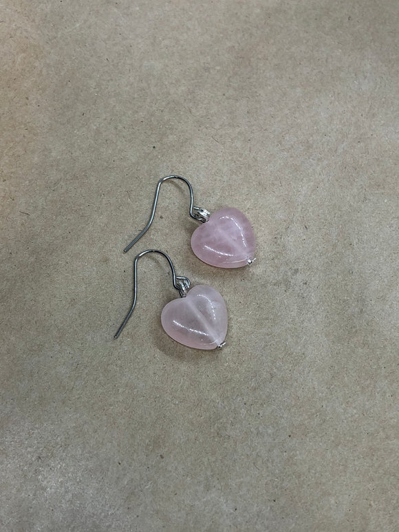 Rose Quartz Crystal Heart Earrings