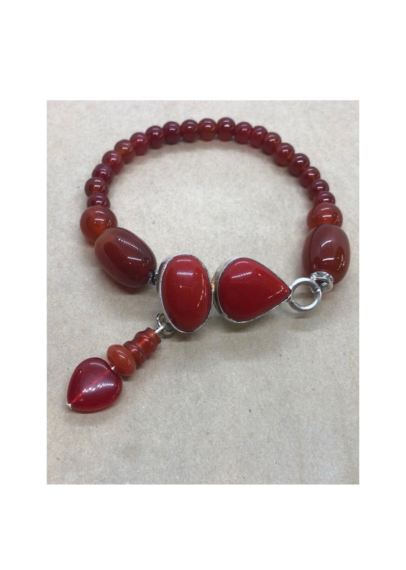 Red Coral set in 925 Silver With Carnelian, Red Agate & Red Jade Beaded Bracelet