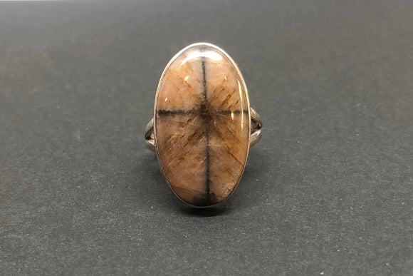 Chiastolite Crystal with Cross set in 925 Silver Ring