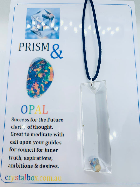 Opal on Crystal Prism Necklace 20