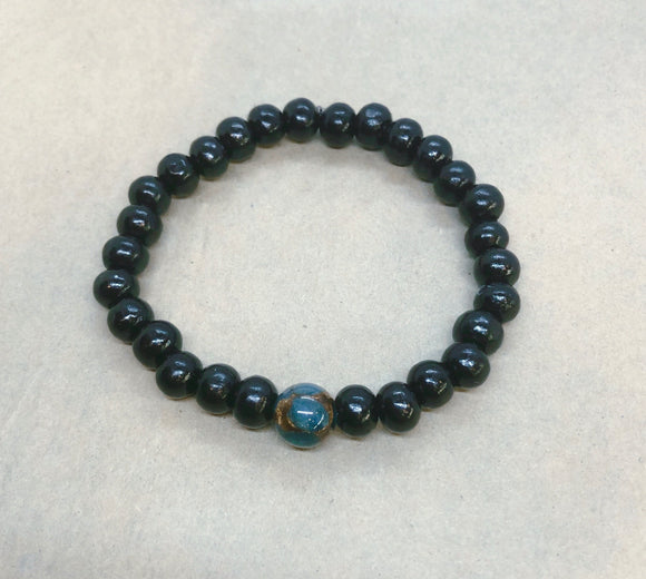 Earth Bracelet - Black Wood Beaded Bracelet with Jasper Centrepiece