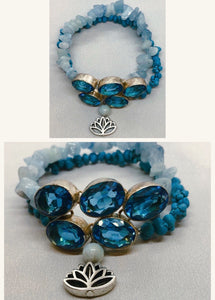 Blue Topaz set in 925 Silver with Celestite & Turquoise Crystal Double Strand Beaded Bracelet