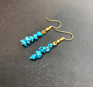 Natural Turquoise Crystal Beaded Earrings