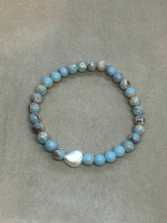 Blue Imperial Jasper Crystal Beaded Beacelet with Pearl Centrepiece