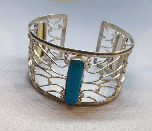 Turquoise, Rose Quartz and Citrine set in 925 Silver Cuff