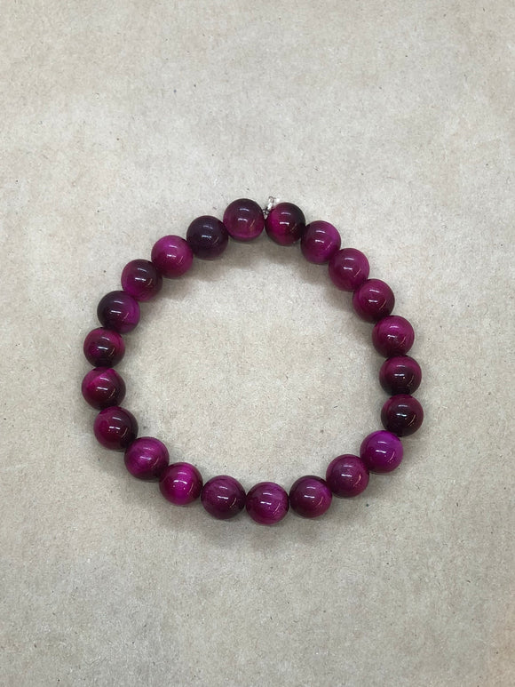 Pink Tiger's Eye Crystal Beaded Bracelet