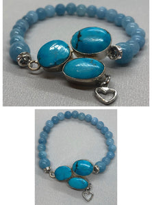 Turquoise set in 925 Silver With Aquamarine Crystal Beaded Bracelet