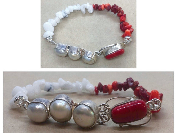 Pearl set in 925 Silver With Red Coral & White Jade Crystal Beaded Bracelet