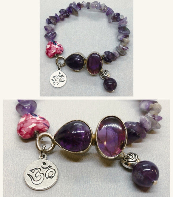 Amethyst set in 925 Silver with Amethyst Beaded Bracelet