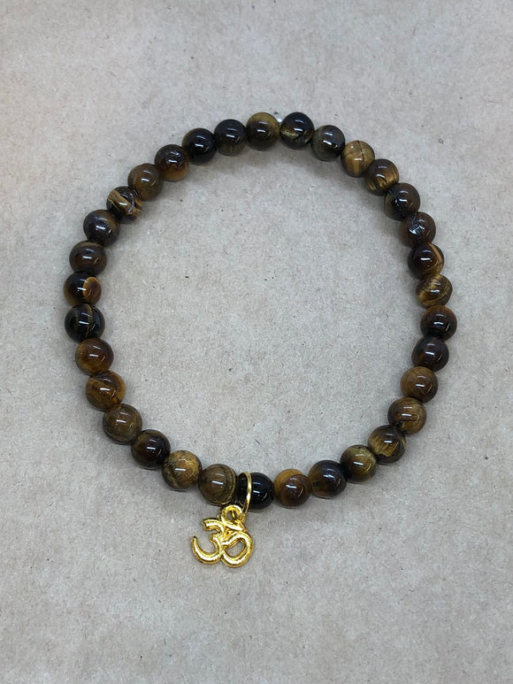 Tiger's Eye Crystal Beaded Bracelet with Om