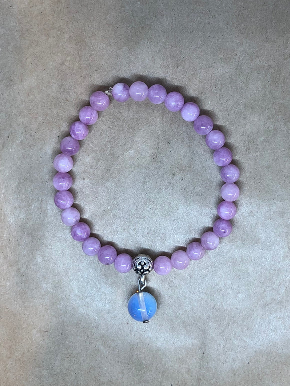 Purple Angelite Crystal Beaded Bracelet with Opalite Crystal Charm