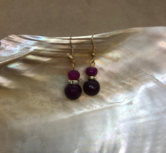 Faceted Ruby Crystal Earrings with Diamanté Features