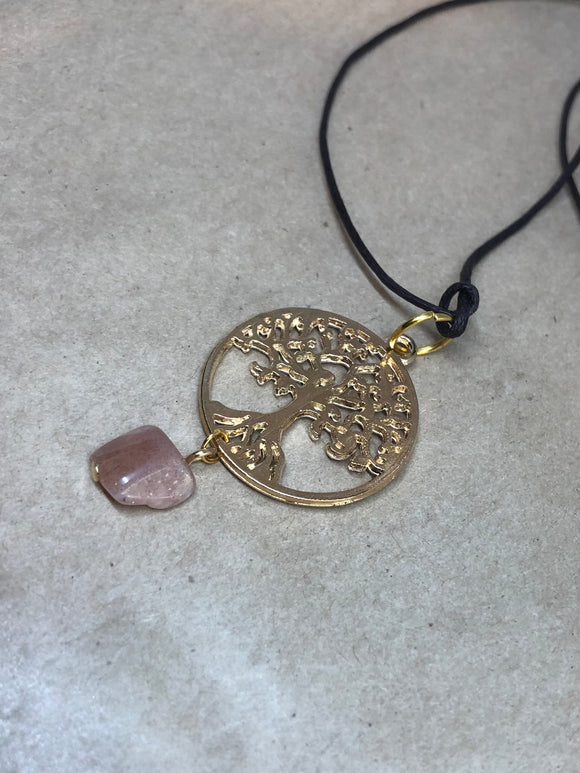 Sunstone Crystal on Tree of Life Necklace