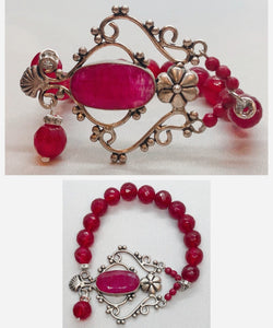 Ruby set in 925 Silver with Ruby Beaded Bracelet