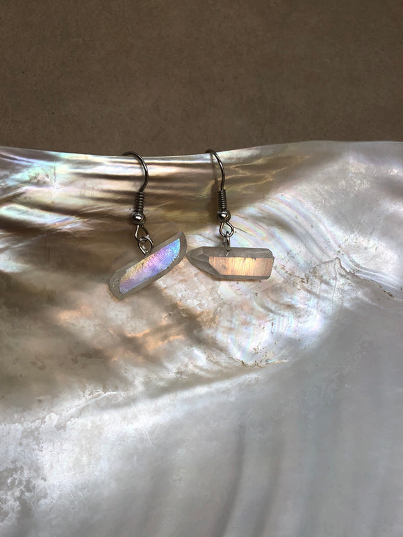 Opal Aura Quartz Crystal Points Earrings
