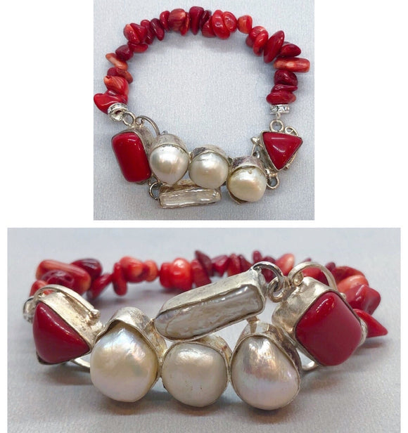 Pearl set in 925 Silver with Red Coral Crystal Beaded Bracelet