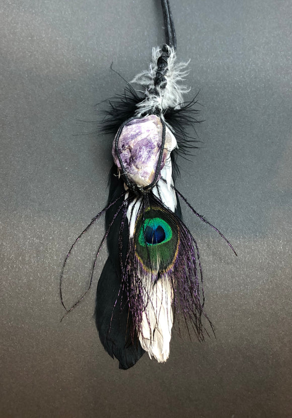 Sun Catcher with Peacock Feather & Raw Amethyst Crystal