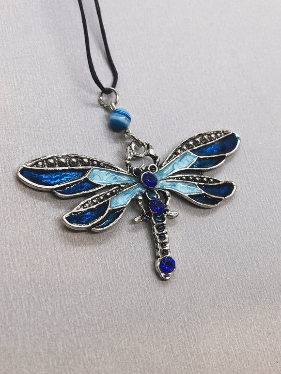Blue Dragonfly Spirit Necklace with Blue Agate