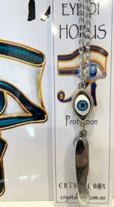 Eye of Horus with Silver Titanium Aura Crystal Necklace