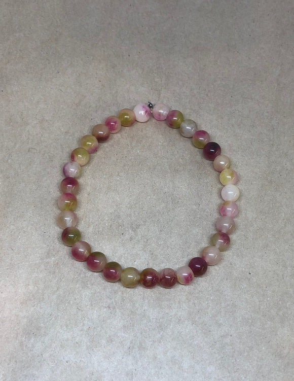 Watermelon Tourmaline Crystal Beaded Bracelet