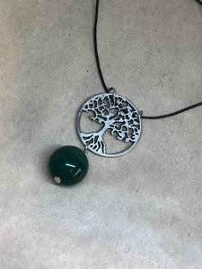 Green Agate Crystal on Tree of Life Necklace