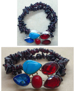 Turquoise, Garnet, Tanzanite & Red Coral set in 925 Silver with Garnet double strand Beaded Bracelet