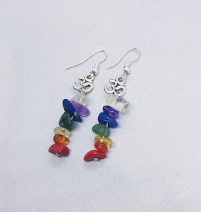Multi-Crystal Chakra Earrings with Om