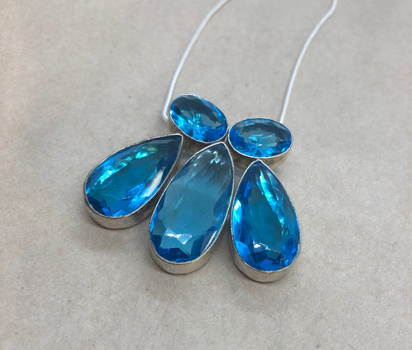 Blue Topaz set in 925 Silver Necklace