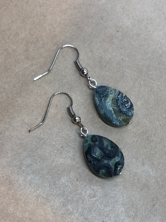 Faceted Kambaba Jasper Crystal Drop Earrings