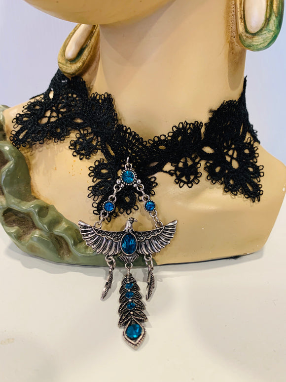 Black Lace blue Eagle choker