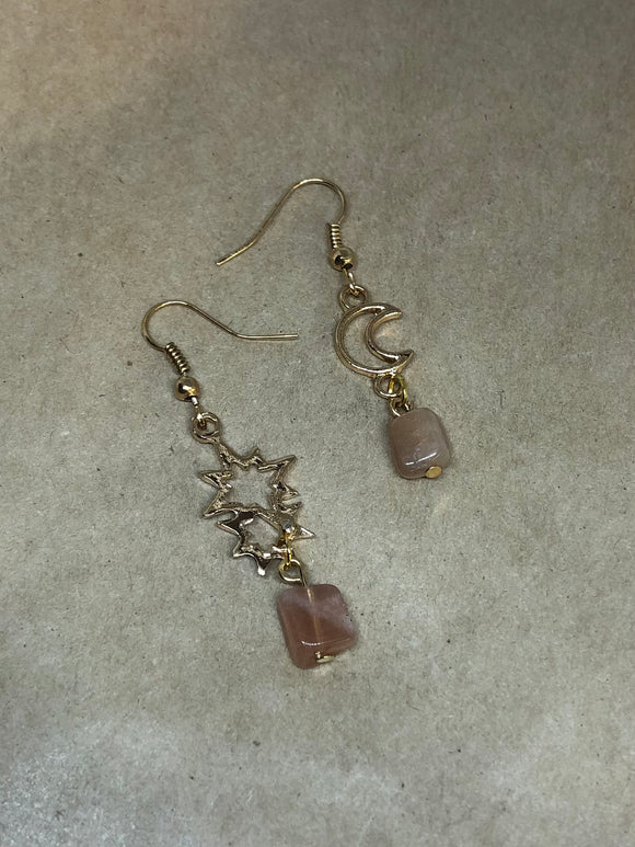 Sunstone Crystal Sun and Moon Earrings