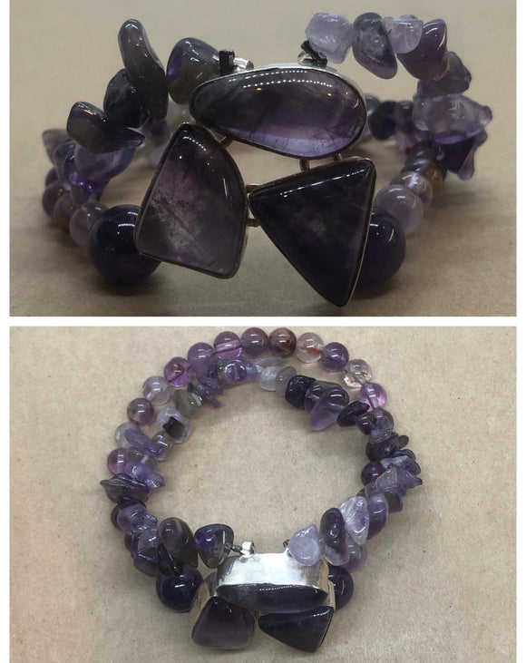 Amethyst set in 925 Silver With Super Seven & Amethyst Crystal Double Strand Beaded Bracelet