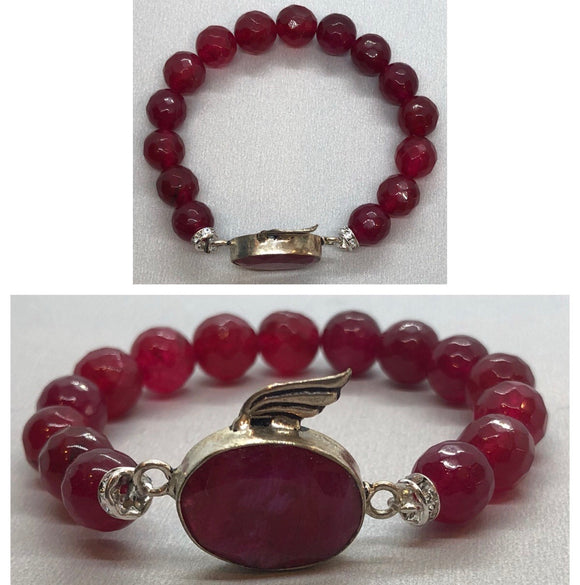 Ruby set in 925 Silver with Ruby Crystal Beaded Bracelet