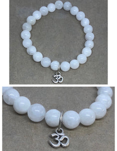 Moonstone Crystal Beaded Bracelet with Om Charm