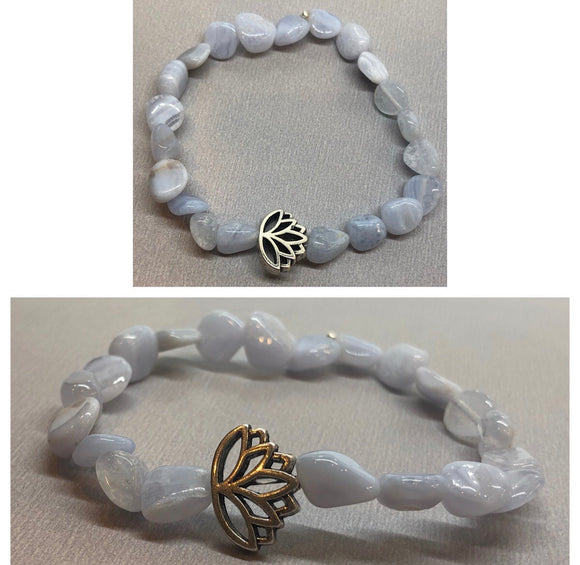 Blue Lace Agate Crystal Beaded Bracelet with Lotus Centrepiece